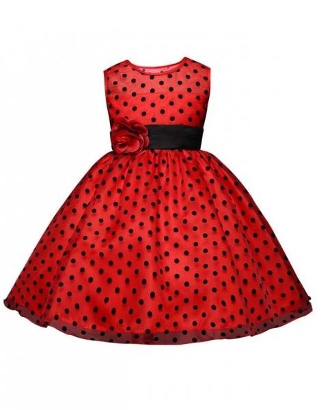 8907d8997d070aa Детское платье Красотка красное в черный горох купить в интернет ...